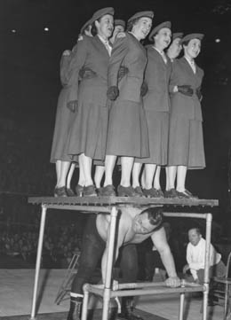 Hepburn performing the legendary strongman backlift