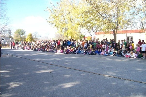 The sea of humanity that formed to see the bus pull